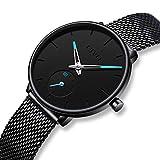 CIVO Damen Uhren Frauen Uhr Ultra Dünne Schwarz Minimalistische Wasserdicht mit Edelstahl Mesh Armband Mädchen Luxus Mode Armbanduhr Elegant Geschäfts Beiläufig Analog Quarz Uhren