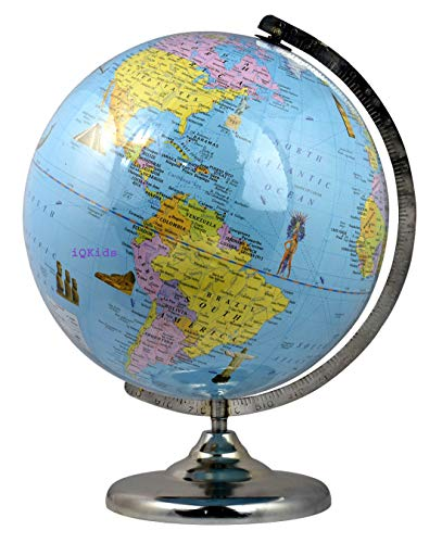 GeoKraft Political Educational Laminated 12 Inch Diameter Large Globe with Steel Finish Arc and Base / World Globe / Home Decor / Office Decor / Gift Item (Blue)