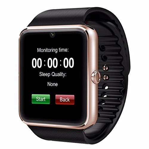 HealthMax HT GT08 Golden Smartwatch Compatible With Micromax Canvas Play 4G Mobiles