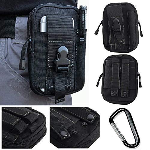 EVEREST Marsupio Sportivo Impermeabile borsello tracollo tattico Campeggio Escursione Running Smartphone Nylon multitasca Waist Bag con Moschettone Nero