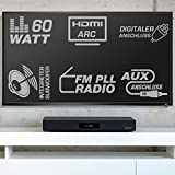 AudioAffairs TVS 2018 TV-Soundstand | HDMI Arc Heimkinoanlage | Soundbar mit FM PLL UKW Radio| Integrierter Subwoofer| Bluetooth 3.0 & Fernbedienung | Farbe: Schwarz