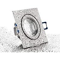 Foco de pared de la instalación de la lámpara de aluminio-fundido a presión IP44 MR16 - de cromo-mate - Marco con cierre de clic y el cristal de la cubierta - Funda con tapa para entornos húmedos de cuarto de baño
