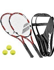 2 x Babolt Falcon 105 Tennisschläger + Covers + 3 Bälle