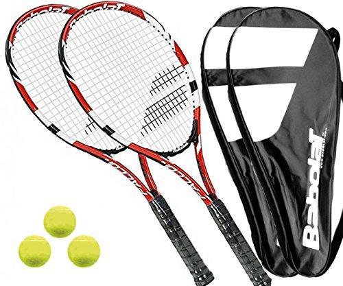 Babolat 2 x Falcon 105 Tennisschläger + Covers + 3 Bälle (L3)