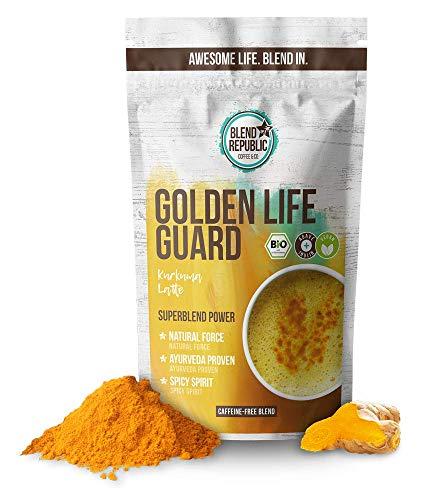 Golden Life Guard - Kurkuma Latte Mix mit Kokosmilchpulver ⍟ Bio - Vegan - Ayurveda Proven - Spicy Spirit - Beauty Drink - Goldene Milch