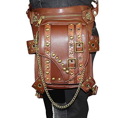Wuxingqing Hüfttasche für Wandern, Steampunk, Schultergurte, Motorradtasche, viktorianische Nietenkette, Beinholster, ideal für Camping und andere Outdoor-Aktivitäten, PU, braun, Free Size