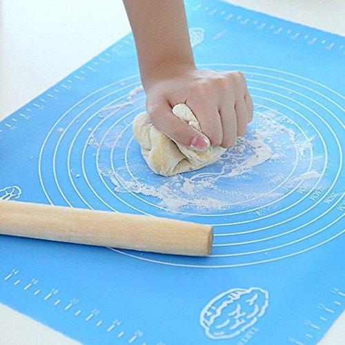 Antihaftende Silikon Backform Kochmatte - 39,9 x 50 cm Extra großer Professionelle Blaue Küchen Matte Mit Messanleitung Pad Nudelbrett wiederverwendbare Antihaft-Silikon-Backmatte für Teig