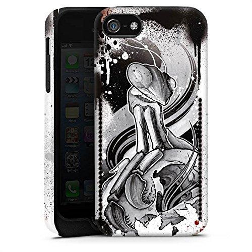 Apple iPhone 5 Housse étui coque protection Tatouage Rock n Roll Style Cas Tough terne