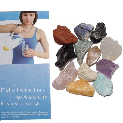 12 Wassersteine Rohsteine NEU - mit 12 STEIN - KARTEN für Edelsteinwasser mit Info Broschüre von Aktuelle Medien Verlag(3488) - Karte Glas-steinen