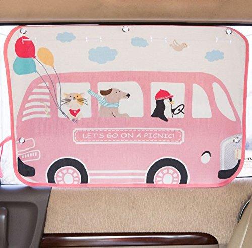 Tokkids - Parasol infantil para la ventanilla lateral del coche, protege a tu Bebé de los Rayos Ultravioletas dañinos del Sol - Dibujo Minibus Pink