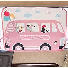 Tokkids - Tendina Parasole laterale per auto, blocca il 99% dei raggi solari , protegge gli occhi e la pelle dei bambini, dimensione regolabile, 70*50cm disegno Minibus rosa