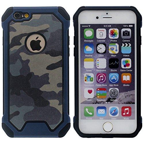 """iPhone 6S Hülle Case – Einzigartig Kreativ Krieg Tarnung Aussehen - Gute Qualität Schwer Kunststoff Leicht Handyhülle Cover für Apple iPhone 6 4.7"""" Anti-Shock - Grün Blau"""
