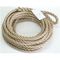 Extrem robustes Seil / Tau, aus PP Polypropylen gedreht, Durchmesser 16 mm, Länge 15 m, mit Schlaufe, Farbe beige, Bruchlast 3400 kg