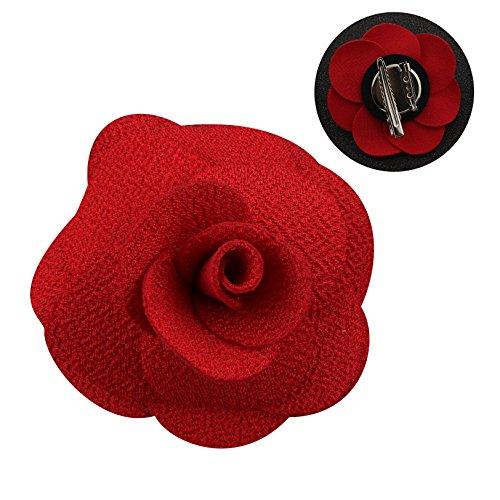 eckblumen Herren Handgefertigt Revers Pin Blume Set Revers Krawatte Brosche Kamelie Boutonniere für Anzug mit Clip (Rot) (Rote Blume Pin Brosche)