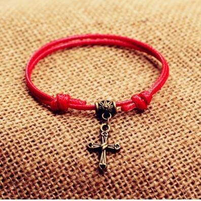 Cor¨¦en de corde rouge r¨¦tro - bracelet de cheville de tissage ¨¤ la main de mani¨¨re simple l'air mignon petit paragraphe femmes ¨¦tudiant nationale Croix - Rouge