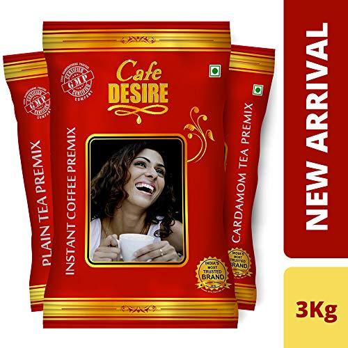 Cafe Desire Combo of Instant Coffee-Premix 1kg, Cardamom Tea-Premix-1kg, Plain...