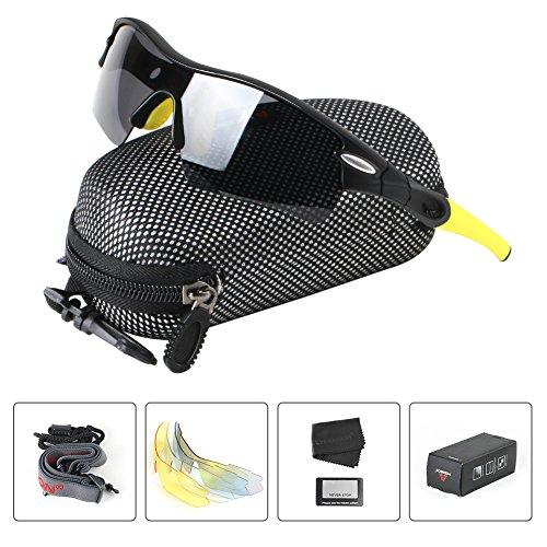 Polarisierter Sport Sonnenbrille für Herren und Damen Fahren Golf Laufen Radsport Superleichtes Rahmen 5 Farben Wechselbar (Gelb)