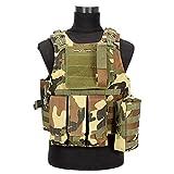 Sijueam Gilet de Combat réglable CS Veste Protection Vetements résistant avec multiples poches détachable + Sangle