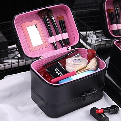 Noeud papillon sac cosmétique Cosmetic Box tote en cuir vanity sac cosmétique femme belle grande capacité étanche portable ,moyennes,black