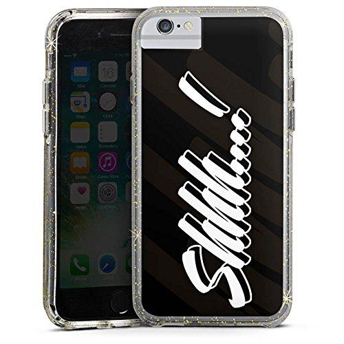 Apple iPhone 7 Plus Bumper Hülle Bumper Case Glitzer Hülle Shhh Statements Rhianna Bumper Case Glitzer gold