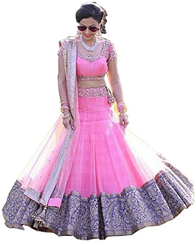 Arawins Women's Party Wear Bollywood Pink Net Heavy Bridal Wedding Lehenga Choli | Ghagra Choli