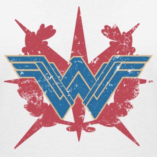 Warner Bros Wonder Woman Logo Look Usé T-shirt col V Femme de Spreadshirt® Blanc