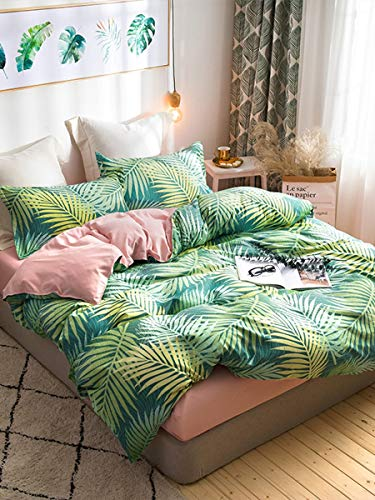 JSDJSUIT Bettwäsche gesetzt 3/4 Stücke Bettwäsche Set Pflanzenmuster Farbblock Personalisierte Bettlaken Set-Twin Set 4tlg
