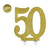 Givi Italia 51158Candela di compleanno numero 50, altezza 12 cm, oro glitter