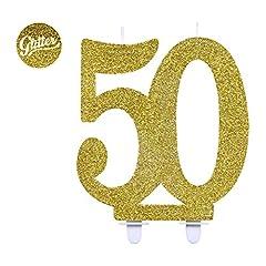 Idea Regalo - Givi Italia 51158Candela di compleanno numero 50, altezza 12 cm, oro glitter