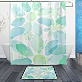 JSTEL Wasserfarben 3-teilig Badezimmer Set, waschbar, für den täglichen Gebrauch, 60x 40cm, wasserdicht, mit 12Haken, Anti-Rutsch, 3-teiliges Set