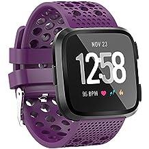 Correa de Reloj Reemplazo, YpingLonk Silicona Perforacion para Fitbit Versa Watch Clásico Essential Casual Moda