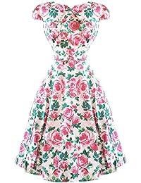 Hearts & Roses London Englische Rose Blumenmuster Vintage Retro 1950s Ausgestellt Nachmittagskleid Hervorragende Qualität