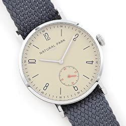 Waterproof Men & Woman Dress Watches with Light Brown Dial Grey Nylon Watch Band Arabic Display