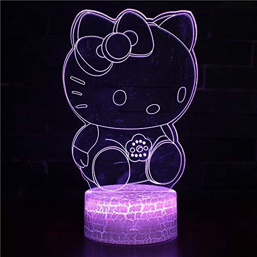 Hclove 3D Illusion Lampe,Led Nachtlicht 7 Farben Berührungs Fernbedienung Schalter Nachttischlampe Kinder Weihnachts Geschenk Nachtlampe Schreibtischlampe Acryl Hellokitty (Licht Hello Kitty)