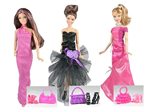 Vêtements Barbie - La collection des Hollywood (set de 3 robes) - POUPEES NON (Diva Abito)
