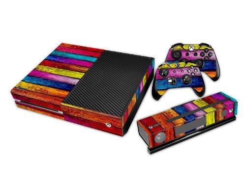 Set di Adesivi per XBox ONE + 2 joypad + Kinect 2.0 – Legno IV