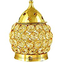 Copper-Master ® Brass Decorative Oval Shaped Crystal Oil Lamp Tea Light Holder Lantern, Akhand Diya (4.5-inch, Gold and…