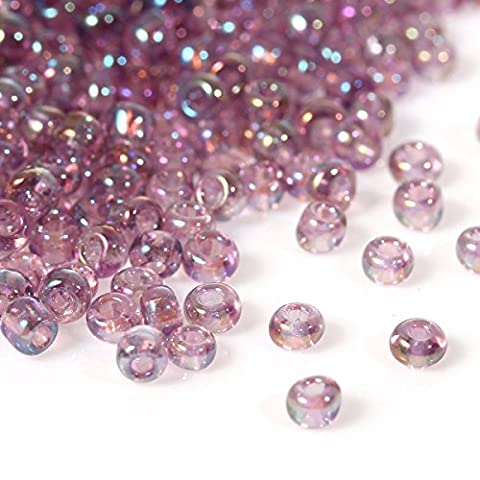 50g Mauve/Purple AB Seed Beads Glass 2mm Size 11/0 J09080
