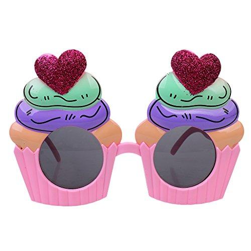 aßbrille Sonnenbrille Party Brille für Scherzartikel Hen Night Halloween Karneval, Herz Cupcake Muster (Cupcake Kostüm Kinder)