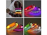 Flowerrs Sinnvoll Hot LED Light Hundehalsbänder Traction Strap Leopard Flächen emittieren Fluoreszenz-Kollektion - lila Licht Startseite-Gadget