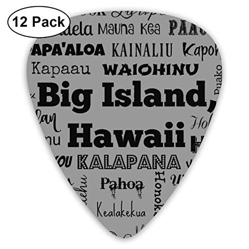 Cities Of Big Island, Hawaii, Standard Gray_1598 Classic Celluloid Picks, 12-Pack, For Electric Guitar, Acoustic Guitar, Mandolin, And Bass -