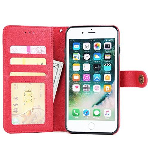 FindaGift iPhone 7 Plus Coque, Classique PU Cuir Étui portefeuille avec Flip Fonction stand et Machines à sous Magnetic Closure Cover Anti-drop Protecteur Gardien Case Mode Étanche aux chocs Cover ave rouge