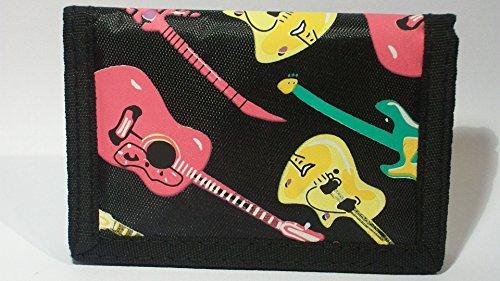 Dreifach faltbare Brieftasche mit Retro-Gitarrendesign, plastifizierter Stoff -