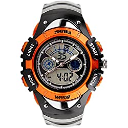 SKMEI Analogue-Digital Kids Watch Led Week Alarm Chronograph Boys Girls Sport Wristwatch Orange