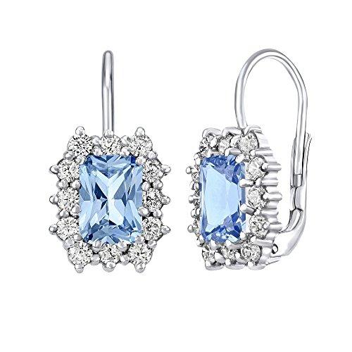 Orecchini d'argento con topazio azzurro rettangolo argento Sterling 925