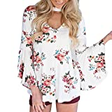 IMJONO Bluse Damen elegant Frauen Spitze Mode Vintage Top T-Shirt, 2019 Jubiläumsfeier Frauen Langarm V-Ausschnitt Floral Bedruckte beiläufige Bluse T-Shirt L