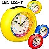 Unbekannt Kinderwecker / Lernuhr - Analog - LED Licht -  bunter Farbmix - für Jungen  - Lernwecker - + -1 Minuten Schritten Anzeiger - Lichtwecker - Lernzifferblatt -..