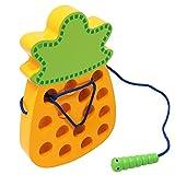 Lewo Holz Lernspielzeug Spielcente Entwicklung spilzeug Fädelspiel Ananas Motorikspielzeug Für Kinder Baby Kleinkind