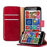 Cadorabo Hülle für Nokia Lumia 630 - Hülle in Wein ROT – Handyhülle im Luxury Design mit Kartenfach und Standfunktion - Case Cover Schutzhülle Etui Tasche Book