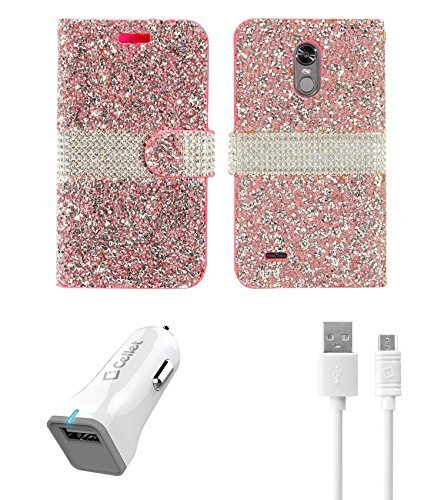 LG Stylo 3 - Accessory Bundle with Diamond Rock Wallet Flip Cover Case - (Hot Pink/Silver), Atom LED and 18W [Qualcomm Quick Charge 2.0] Car Charger with Micro USB Cable [4 ft.]